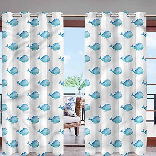 Hiiiman Sun Block Wind Prevention Grommet Top Curtain Panel Exotic Fauna Pacific Ocean W84 x L96 for Front Porch Lawn Corridor Patio Door
