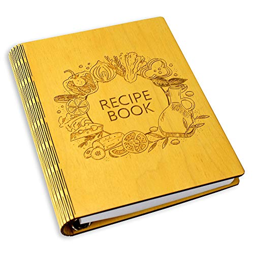 Woxteed A5 Wooden Blank Recipe Book to Write in (7.5 x 6 inch) - Cook Book with 80 Sheets for Handwritten Recipes - Hardcover Family Kitchen Journal and Recipe Keeper (yellow)