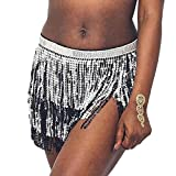 Victray Belly Hip Skirts Tassel Sequins Scarf Dance Fringe Skirt Wrap Fashion Party Belts Rave Halloween Costume for Women and Girls (Black with Silver)