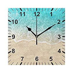 susiyo Nice Summer Soft Waves and Clean Sand Beach Printed Square Wall Clock Silent Non Ticking Quartz Battery Operated Analog Modern Decor Clock for Bedroom Living Room Kitchen Desk Farmhouse-7.7in