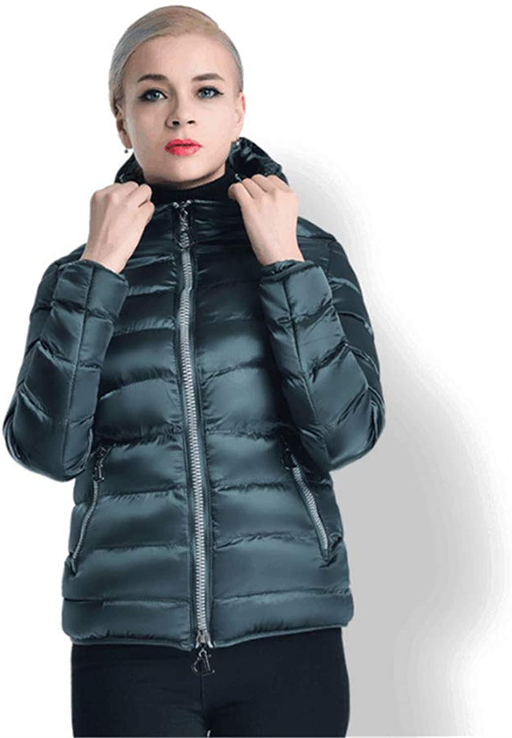Fashion Short Paragraph Women's Winter Down Jacket with Hood,XL