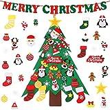 Joyhoop Albero di Natale in Feltro, Albero di Natale Bambini con 32 Pezzi di Ornamenti Decorazioni E bannerda Appendere a Parete per Bambini Regali di Natale per Bambini Decorazioni per Porte di casa