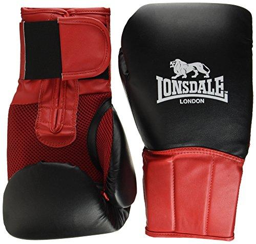 Lonsdale Erwachsene Performer Boxhandschuh, schwarz/Rot, 14 oz