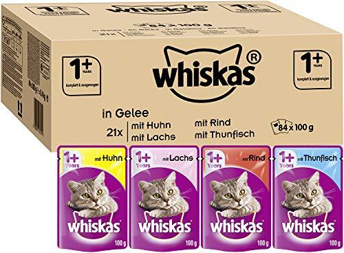 Whiskas 1 + Katzenfutter – Gemischte Auswahl in Gelee – Hochwertiges Feuchtfutter für ausgewachsene Katzen – 84 Portionsbeutel à 100g