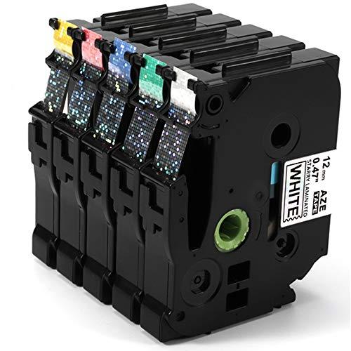 Airmall kompatible Schriftband als Ersatz für Brother TZe 12mm Buntes Laser Band für PT-h101c PT-E100 PT-1010 PT-1000 PT-1080 PT-h105 PT-h75 PT- h100lb PT- D400, 12 mm x 8 m, 5 Rollen