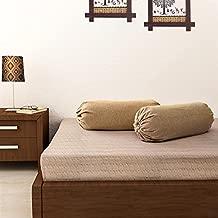 SOUMYA Plain Cotton Bolster Cover (Beige) -2 Pieces