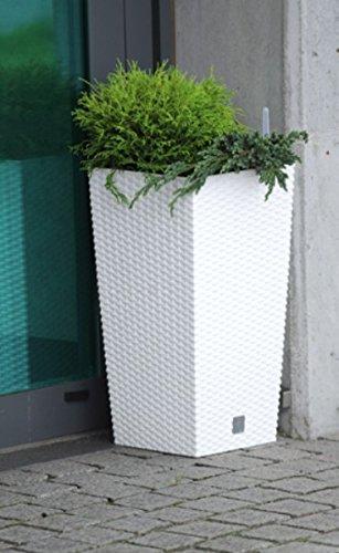 Vaso per piante Rato Square Simil Rattan 91,5L Con Inserto colore: Bianco (91,5 L)