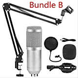 Micrófono de condensador Kits de grabación de estudio Micrófono de karaoke para computadora Soporte de micrófono Phantom Power one size Silver Grey Bundle B