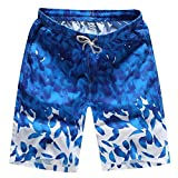 WANG Quick Dry Summer Casual Beach Shorts Men Flower Print Elastic Waist Mens Board Shorts Pockets Male Casual Shorts,7,XL