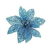 Neu Weihnachtsstern Blume Hohl Glitter Kunstblumen Dekor 10×10cm Christbaumkränze Ornamente Blau, Gold, Pink, Rot, Silber