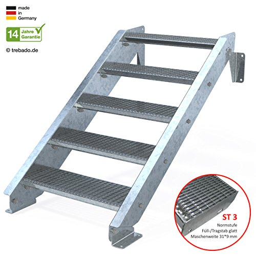 Außentreppe 5 Stufen 70 cm Laufbreite - ohne Geländer - Anstellhöhe variabel von 83 cm bis 100 cm - Gitterroststufe ST3 - feuerverzinkte Stahltreppe mit 700 mm Stufenlänge als montagefertiger Bausatz