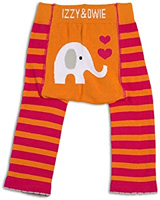 Izzy & Owie Baby Girl Leggings Elephant, 6-12 Month, Orange, 6-12 M