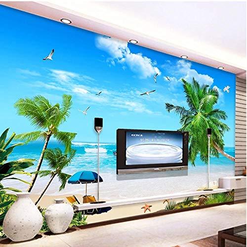Seascape Beach Coconut Tree Mural 3D Photo Wallpaper Pintura de pared Sala de estar TV Fondo Decoración del hogar 350x256cm(137x100 inch)