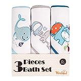 Viviland Baby Badetuch mit Kapuze 3er Pack Super saugfähiges Baby Badetuch Babygeschenk für Neugeborene Mädchen und Jungen Geeignet für Babys, Wale/Elefanten/Kühe