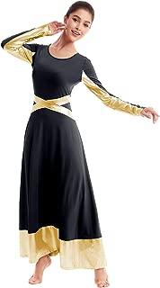 Metallic Gold Color Block Praise Liturgical Lyrical Dancewear for Womens Cross Dance Loose Full Dress Long Sleeve Costume