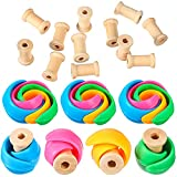32 Pieces Wooden Spools Huggers Set 16 Wooden Empty Thread Spools 16 Silicone Thread Holders Wire Weaving Bobbins for Crafts Cord Roll Prevent Thread Tails from Unwinding