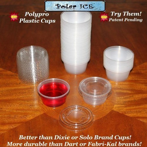 Polar Ice Disposable Plastic Glasses with Lids, 2-Ounce, Translucent, 500-Pack