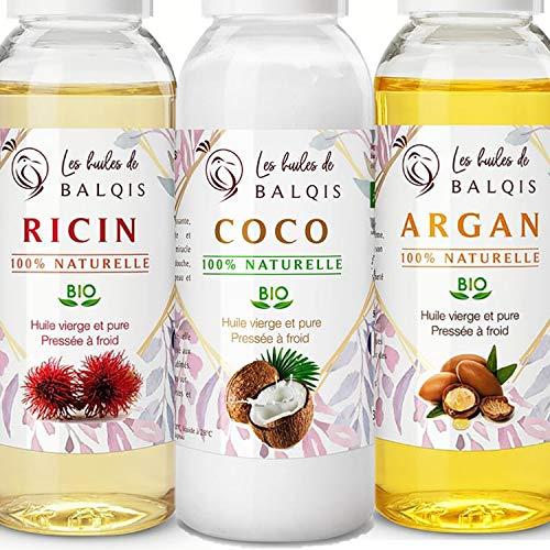 3X50 ml Huile de ricin coco et d' argan bio pure 100% naturelle pressée à froid hydrate purifie stimule de la pousse cheveux,barbe,cils,sourcils,ongles,soin visage,peau,corps riche en oméga 6/9