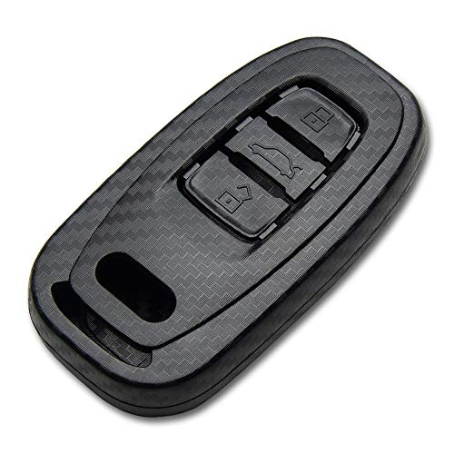 TANGSEN Smart Key Fob Case for AUDI A4 A5 A6 A7 A8 Q5 HYBRID R8 RS5 RS7 S4 S5 S6 S7 S8 SQ5 3 4 Button Keyless Entry Remote Personalized Protective Cover 3D Twill Weave Carbon Fiber ABS Plastic Emboss