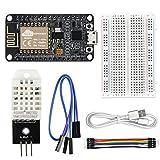 WayinTop DHT22 Sensor de Temperatura y Humedad Servidor Web Kit para ESP8266 con Tutorial, ESP8266 ESP-12E Módulo WiFi + DHT22 AM2302 Sensor + Cable USB + 400Pin Breadboard + 10Pin Cable de Puente