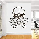 Tianpengyuanshuai Vinilo para Pared Horror Huesos Pirata Vinilo decoración extraíble Dormitorio decoración Fondo de Pantalla 63X72cm