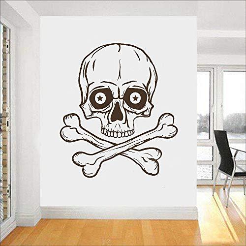 yaonuli Wandtattoos Horror Knochen Piratenaufkleber Familie Wohnzimmer Vinyl Dekoration abnehmbare Schlafzimmer Dekoration Tapete63X72cm