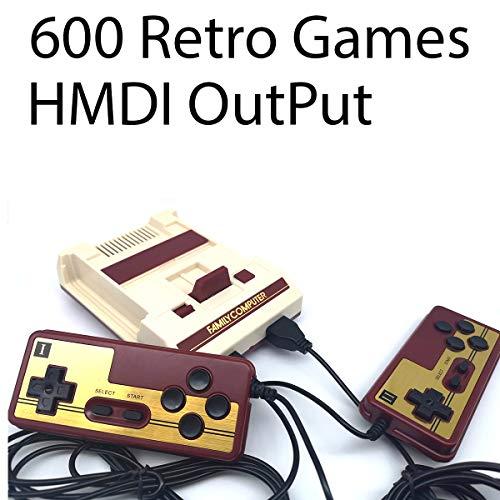 SKAL juegos consola mini classic, retro videojuegos Juegos integrados 600 FC con salida HDMI y dos controladores, 8bit entertainment system
