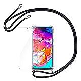 AROYI Funda con Cuerda para Samsung Galaxy A70 + Protector Pantalla, Carcasa Transparente TPU...