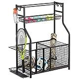 mDesign Metal Heavy Duty Sports Storage Rack with Top Shelf - Holds Basketballs, Water Bottles, Baseball Bats, Hats, Frisbees, Workout Gear, Tennis Rackets, Yoga Mats - Black