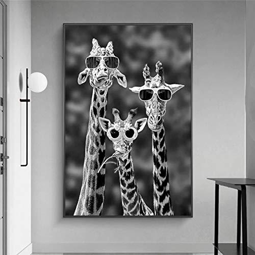 Pintura impresa Jirafas con gafas de sol, pintura en lienzo, carteles de animales blancos y negros, cuadros artísticos de pared para decoración del hogar, decoración de habitación regalo -24x36inch