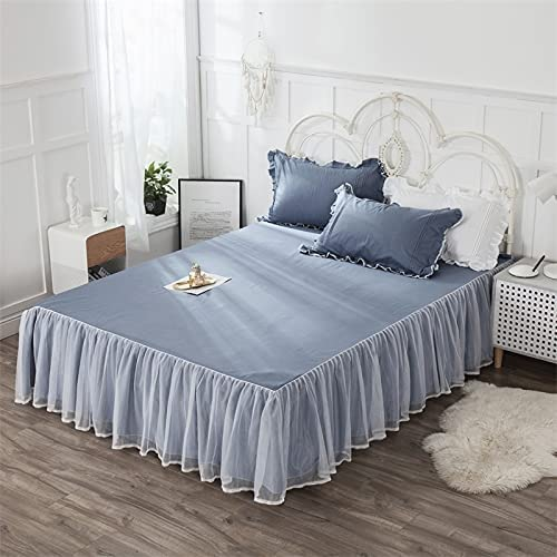 ELJZF Bed Skirt Solid Color Lace Ruffles Double Free shipping on posting reviews Layer free