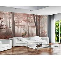 mzznz カスタム壁紙新鮮なシンプルな美しい森大木朝霧エルクフレスコ画テレビソファ背景壁3D壁紙-350X250Cm