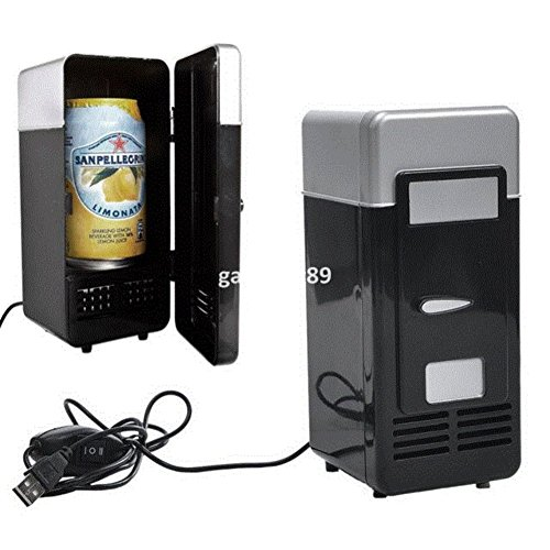 SL&BX Vintage USB Mini Nevera refrigerador Bebidas Bebida Sola Puerta Mini heladera...