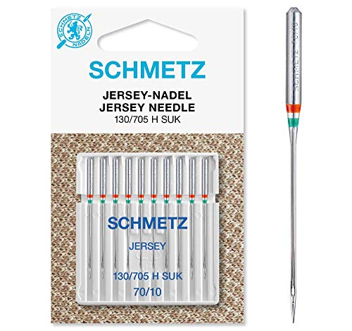 SCHMETZ Nähmaschinennadeln: 10 Jersey-Nadeln, Nadeldicke 70/10, 130/705 H-SUK, auf jeder gängigen Haushaltsnähmaschine einsetzbar, geeignet für das Verarbeiten von Jersey, Strick- und Wirkwaren