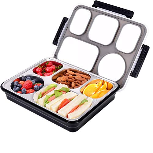 Srxes Stainless Steel Lunch Boxes , Lunch Boxes, Lunch Box for Kids to School, Lunch Box for Office Men Steel, Tiffin Boxes, Tiffin Boxes for Kids (Black)
