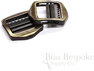 Set of 2 Small Brass Brushed Metal Tailor's Slide Buckles from Italy