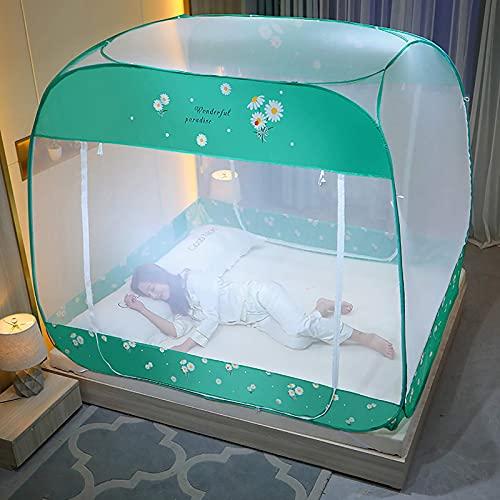 Mosquitera de la cama. Pabellón de cama de yurta superior cuadrado, mosquitera plegable, sin necesidad de instalar tres puertas de fondo completo, dormitorio, dormitorio, cama, mosquitero, red