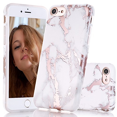 BAISRKE Shiny Rose Gold Marble Design Clear Bumper Matte TPU Soft Rubber Silicone Cover Phone Case Compatible with iPhone 7 iPhone 8 [4.7 inch] - White