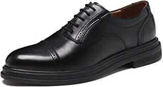 HUAHs0 Business Oxfords for Men Dress Shoes Lace up Genuine Leather Rubber Sole Solid Color Platform Anti-Skid Brogue Pointed Toe` (Color : Yellow, Size : 38 EU)