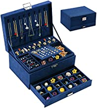 Jewelry Box Organizer for Women Girls, QBestry 3 Layers Big Jewelry Earrings Organizer Box with Lock Drawer Women Jewelry Display Holder Storage Case for Earrings Bracelets Rings Necklace Watches - Deep Blue