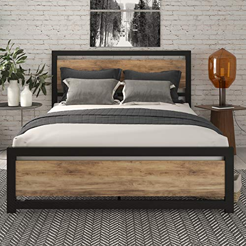SHA CERLIN Queen Bed Frame with Modern Wooden Headboard / Heavy Duty Platform Metal Bed Frame with...