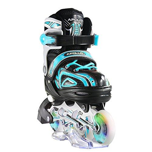 Apollo Super Blades X Pro, tamaño ajustable, Inline skates con ruedas luminosas LED rollerblades para niños, ideales para principiantes patines en línea confortables para chicos y chicas 31-34, Menthe
