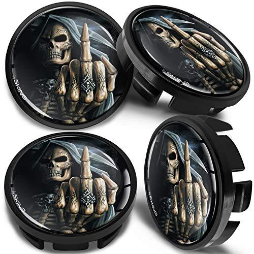SkinoEu 4 x 65mm Tapas de Rueda de Centro Centrales Llantas Aluminio Compatibles con Tapacubos VW Número de Pieza 3B7601171 / 6U7601171 Negro Cráneo Dedo Medio CV 25