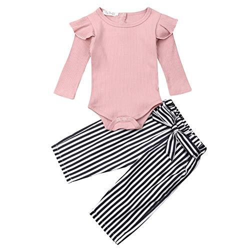 Geagodelia 3tlg Babykleidung Set Baby Mädchen Kleidung Outfit Langarm Body Strampler + Blumen Hose + Stirnband Neugeborene Kleinkinder Weiche Babyset T-28316 (0-6 Monate, Pink & Streifen 742)