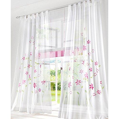 Yujiao Mao 1er Pack Voile Gardine Flowers farbenfrohe Vorhänge Schal mit Schlaufen Pink BxH 150x145cm