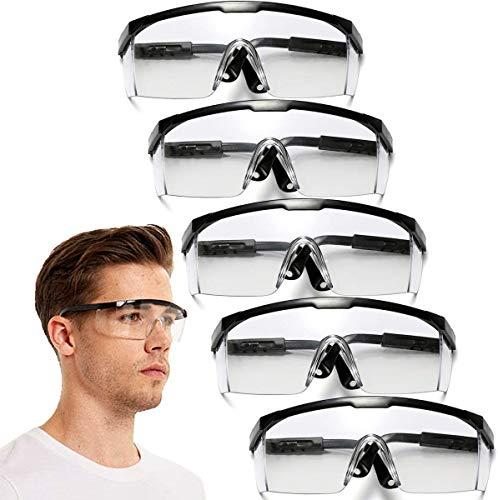 Safety Goggles,5PCS Adjustable Wide-Vision Protective Glasses, Lightweight Fog-Proof Safety Goggles (Black)