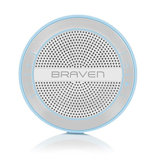 Braven BMRAUSW Mira Portable Wireless Bluetooth Speaker [12 Hours][Waterproof] Built-in 1200 mAh Power Bank Charger - Light Blue