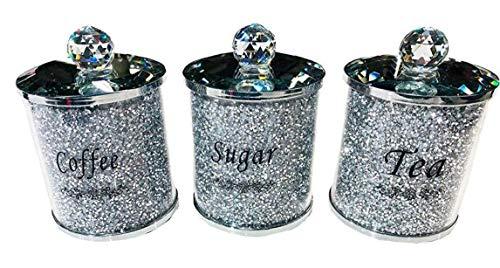 TOPofly Café azúcar tarros, Diamante machacado té café azúcar Botes jarras de Almacenamiento de Plata Pasamanería de Cristal Lleno de la casa para Guardar