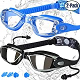Swimming Goggles, Pack of 2, Swim Glasses for Adult Men Women Youth Kids