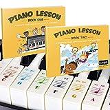 Autocollants pour piano et clavier de couleur et notes de musique complètes et livre de guide 1 et 2 pour enfants et débutants ; conçu et imprimé aux États-Unis.